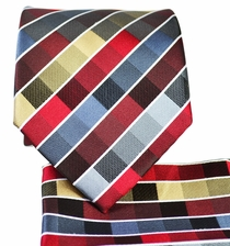 Red and Grey Necktie and Pocket Square Set