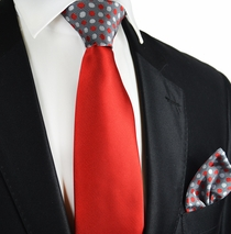 Red and Grey Contrats Knot Tie Set by Paul Malone