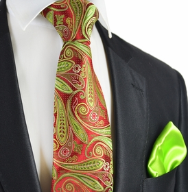Red and Lime Punch 7-fold Sik Tie Set by Paul Malone