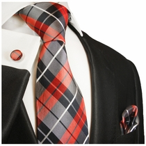 Red and Navy Plaid Silk Necktie Set by Paul Malone (592CH)