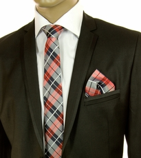 Red and Navy Plaid SLIM Silk Tie Set by Paul Malone (Slim592H)