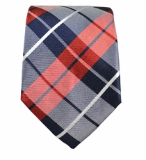 Red and Navy Slim Tie by Paul Malone . 100% Silk