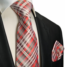 Red and Olive Silk Tie Set by Paul Malone Red Line