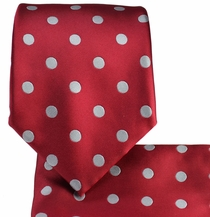Red and Silver Polka Dots . Necktie and Pocket Square