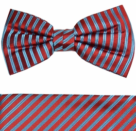 Red and Turquoise Bow Tie and Pocket Square by Paul Malone (BT903H)