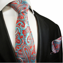 Red and Turquoise Paisley Silk Tie Set by Paul Malone Red Line