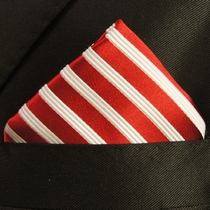 Red and White Pokcet Square . 100% Silk (H852)