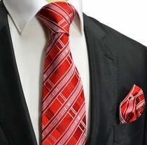 Red and White Silk Tie a. Pocket Square . Paul Malone Red Line