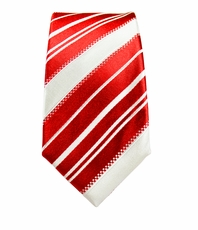 Red and White Striped Boys Silk Tie