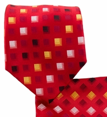 Red and Yellow Necktie and Pocket Square Set (Q570-C)