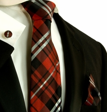 Red, Black and Silver Plaid Silk Necktie Set by Paul Malone (597CH)
