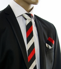 Red, Black and Silver SLIM Tie Set by Paul Malone (Slim410H)