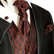 Red & Black Paul Malone Tuxedo Vest Set (V4)