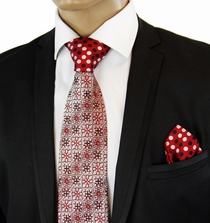 Red Contrast Knot Silk Tie Set by Steven Land