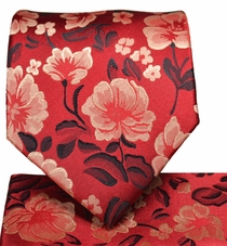 Red Floral Necktie and Pocket Square Set