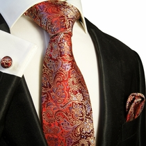 Red, Gold and Blue Necktie Set by Paul Malone (568CH)