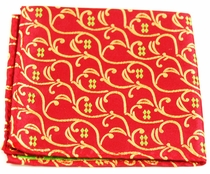 Red, Gold and Green Pocket Square . 100% Silk (H850)