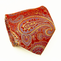 Red, Gold & Blue Paisley Necktie by Paul Malone (696)