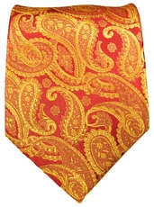 Red & Gold Paisley Paul Malone Silk Necktie (695)