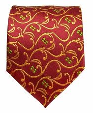 Red & Gold Silk Neck Tie by Paul Malone (850)