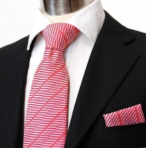 Red Necktie & Pocket Square Set (Q61)
