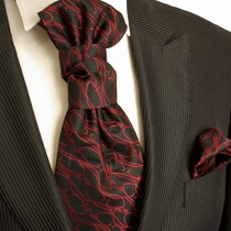 Red on Black Cravat and Pocket Square (PLV4H)