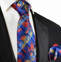 Red on Blue Paul Malone Silk Tie and Pocket Square