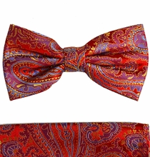 Red Paisley Bow Tie and Pocket Square by Paul Malone . 100% Silk (BT696H)