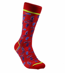 Red Paisley Cotton Socks by Paul Malone