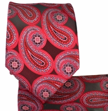 Red Paisley Necktie and Pocket Square Set