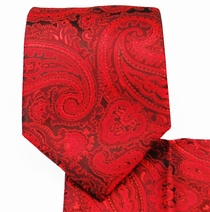 Red Paisley Necktie and Pocket Square Set (Q350-A)