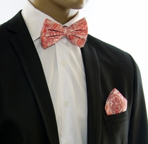 Red Paisley Silk Bow Tie and Pocket Square Set by Paul Malone (BT338H)