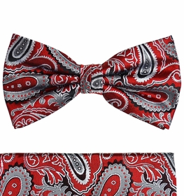 Red Paisley Silk Bow Tie Set by Paul Malone (BT563H)