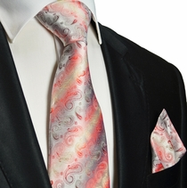 Red Paisley Silk Tie and Pocket Square . Paul Malone Red Line