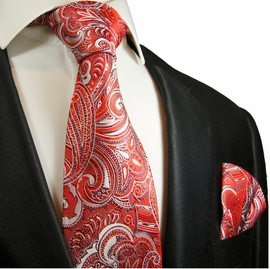 Red Paisley Silk Tie Set by Paul Malone