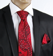 Red Paisley Silk Tie Set with Crystals (C71-5)