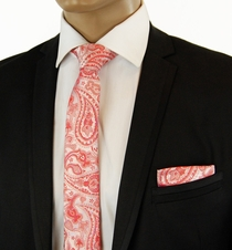 Red Paisley Slim Silk Tie Set by Paul Malone