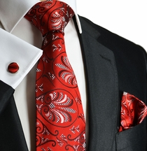 Red Paul Malone Silk Necktie a. Accessories (1006CH)