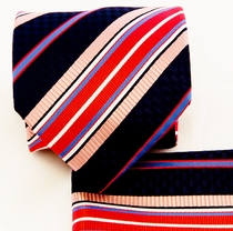 Red, Pink and Black Necktie and Pocket Square Set (Q581-B)