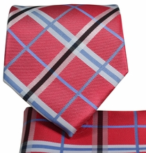 Red Plaid Necktie and Pocket Square