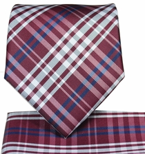 Red Plaid Necktie and Pocket Square Set