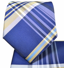 Plaid Necktie and Pocket Square Set . Blue