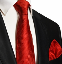 Red Silk Necktie and Pocket Square . Paul Malone Red Line