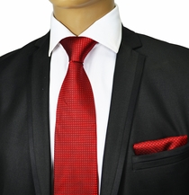 Red Silk Tie and Pocket Square by Paul Malone Red Line