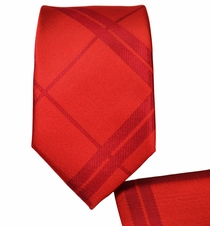 Red Slim Necktie and Pocket Square Set (Q135)