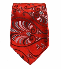 Red Slim Silk Tie by Paul Malone