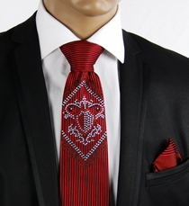 Red Steven Land Silk Tie Set with Crystals (CR606)