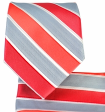 Red Striped Necktie and Pocket Square