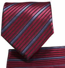 Red Striped Necktie and Pocket Square (Q576-F)