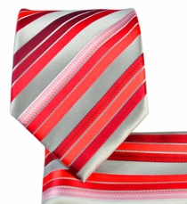 Red Striped Necktie and Pocket Square Set